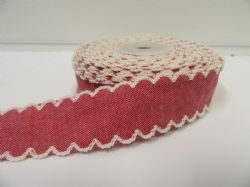 2 metres or 10 metre Roll 25mm Red Vintage Scalloped Edge Ribbon Cotton